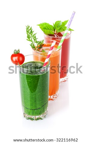 Fresh vegetable smoothie. Tomato, cucumber, carrot. Isolated on white background