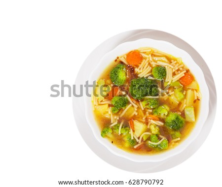 Fresh Vegetable Soup With Noodles Top View Isolated On White