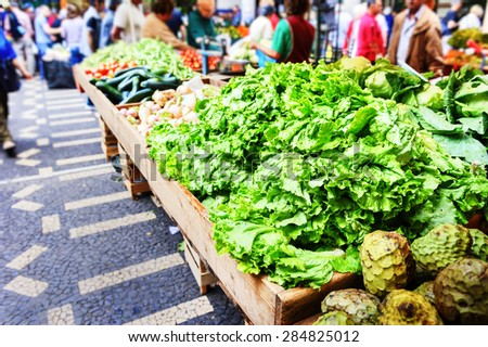 Fresh vegetables and exotic fruits in Mercado Dos Lavradores. Funchal, Madeira - stock photo
