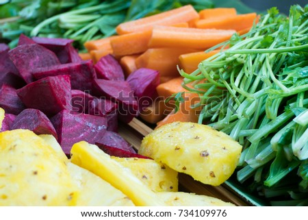 Fresh vegetables and fruits for juicing