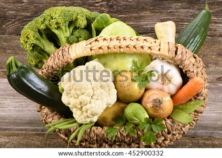 fresh vegetables and fruits from farmers market