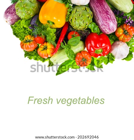 fresh vegetables and herbs isolated on a white background with sample text