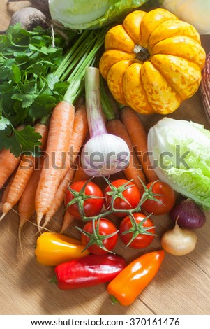 Fresh vegetables and herbs: lettuce, cabbage, pumpkin, tomatoes, peppers, eggplant, carrots, beets, onions, garlic, parsley on the wooden background; vertical