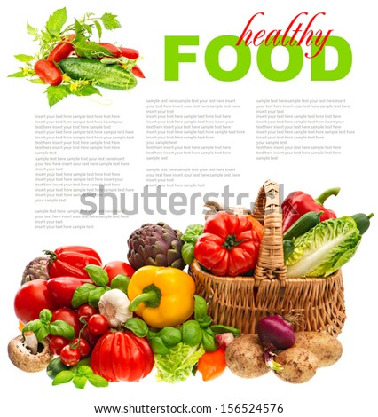 fresh vegetables and herbs on white background. organic diary products. shopping basket. healthy food concept with sample text - stock photo