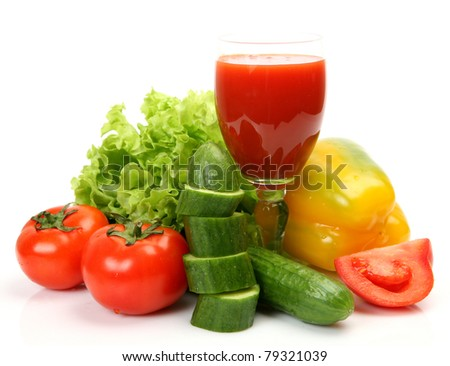 Fresh vegetables and juice - stock photo