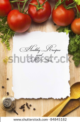 fresh vegetables and spices on the  wooden background and paper for notes - stock photo