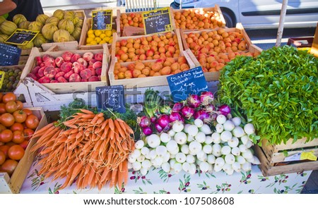 Fresh vegetables at farmer market in France