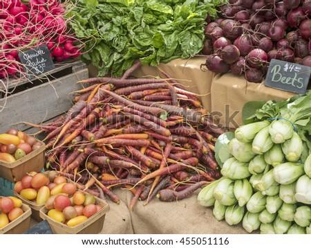 Fresh vegetables at local farm market. - stock photo