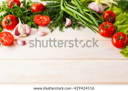 Fresh vegetables background, place for text. Healthy eating concept. Vegetarian food. Healthy eating. Ripe vegetables. Fresh vegetables. - stock photo