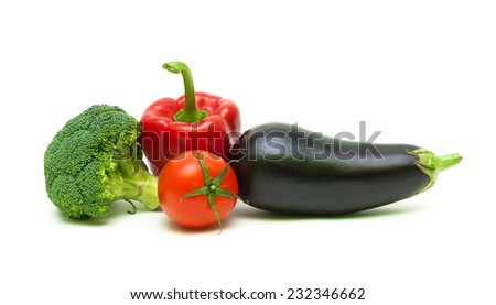 fresh vegetables: broccoli, tomatoes, eggplants and peppers isolated on white background close-up. horizontal photo. - stock photo