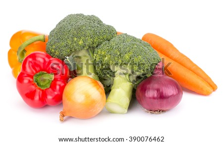 Fresh vegetables: brocolli, bell peppers, carrot, onion isolated on white background