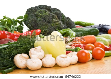 Fresh vegetables for all seasons on wood table in kitchen