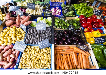 Fresh Vegetables for sale at Toulouse farmer's market, France - stock photo