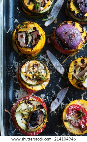 Fresh vegetables from the garden grilled into rainbow towers - stock photo