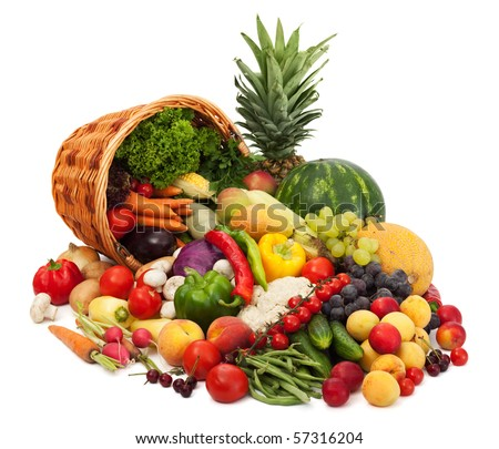 Fresh Vegetables, Fruits and other foodstuffs. Isolated - stock photo
