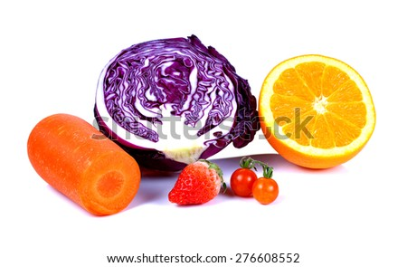 Fresh vegetables,fruits on the white background - stock photo