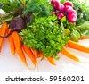 Fresh vegetables.  garden radish, carrots and beet. - stock photo