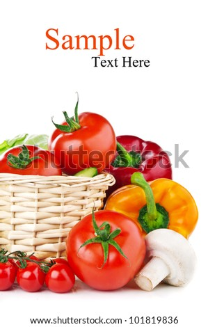 fresh vegetables isolated on a white background - stock photo