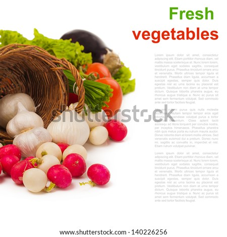 fresh vegetables isolated over white and place for text - stock photo