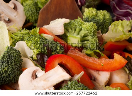 fresh vegetables on a frying pan - stock photo