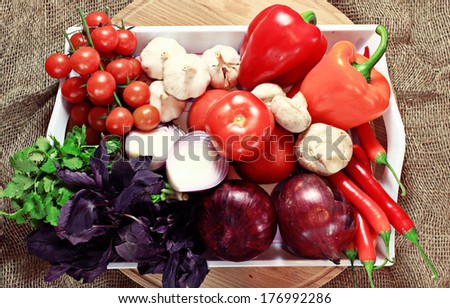 Fresh vegetables on a tray - stock photo