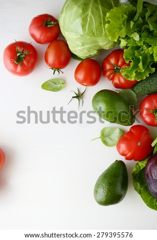 fresh vegetables on a white background, food top view - stock photo