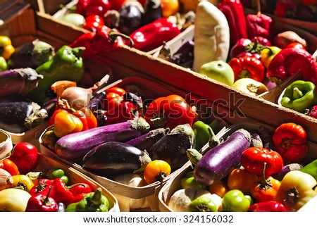 Fresh vegetables on stall at the market - stock photo