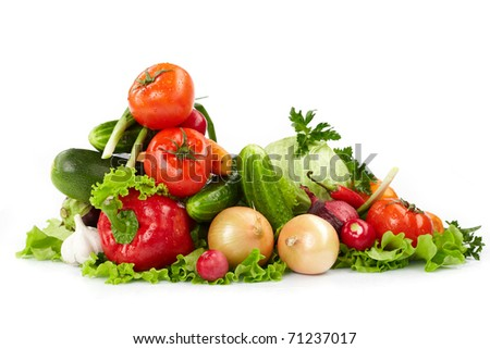 fresh vegetables on the white background - stock photo