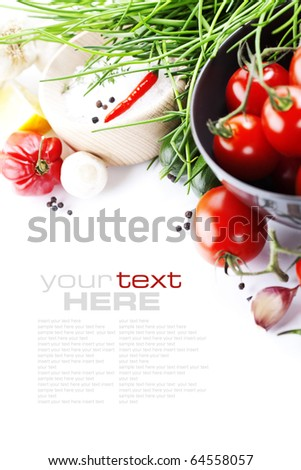 fresh vegetables on white with sample text - stock photo