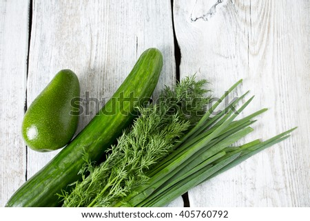 fresh vegetables on wooden surface - stock photo