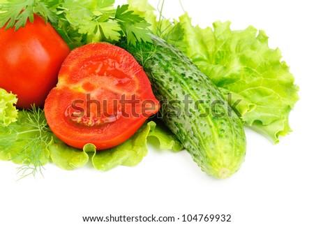 fresh vegetables (salad, cucumber, lettuce)  isolated  on  white - stock photo