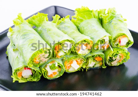 fresh vegetables spring rolls - stock photo