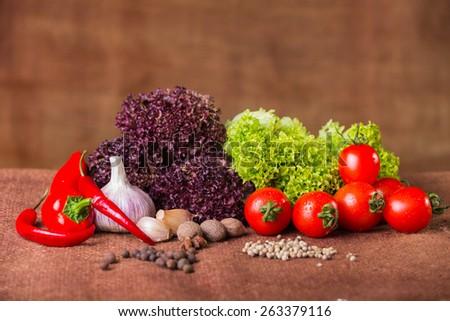 Fresh vegetables. Still vegetables. Green vegetables. Healthy food, vegetables, vitamins. - stock photo