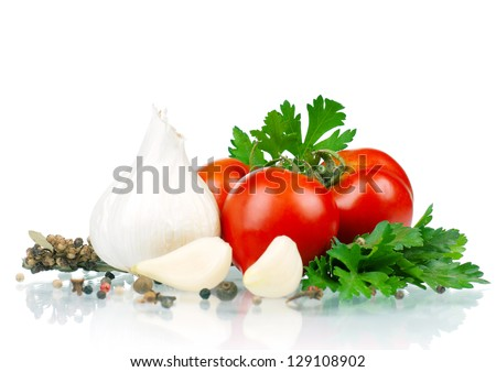 Fresh vegetables - tomato, parsley, garlic, pepper - stock photo