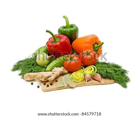 fresh vegetables - tomatoes, peppers, onions, ginger, juniper berries, garlic, fennel, cucumber
