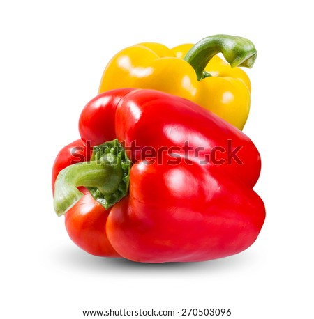 Fresh vegetables Two sweet Red, Yellow Peppers isolated on white background. - stock photo