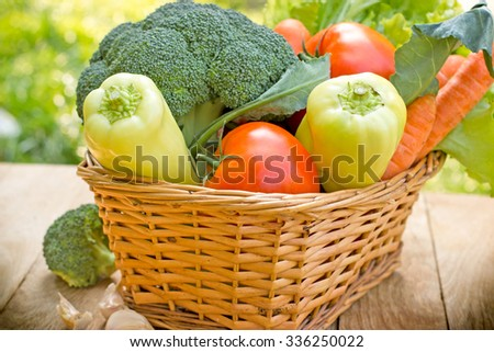 Fresh vegetables - vegetables in wicker basket