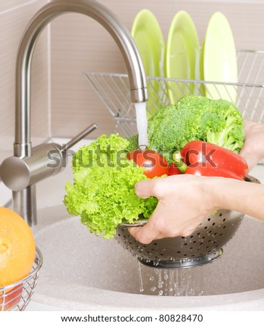 Fresh Vegetables Washing - stock photo