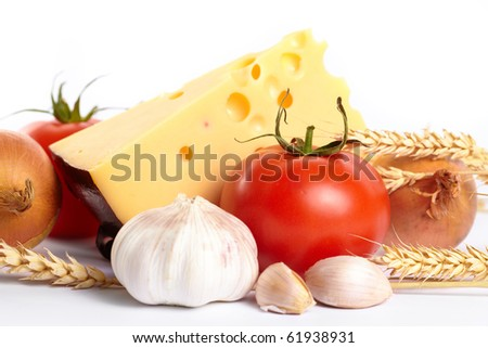 fresh vegetables with cheese - stock photo