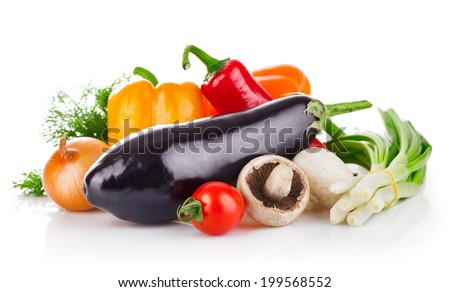 Fresh vegetables with greens. Isolated on white background - stock photo