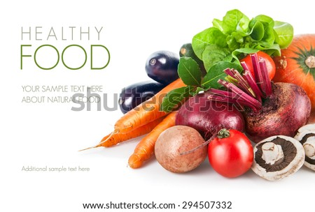 Fresh vegetables with leaf lettuce. Isolated on white background - stock photo