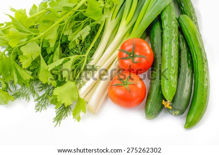 Fresh vegetables with lettuce - stock photo
