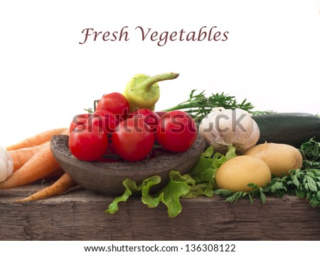 fresh vegetables with place for the text