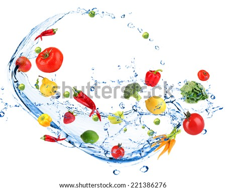Fresh vegetables with water splash, isolated on white - stock photo