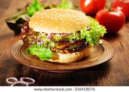 Fresh Vegetarian Burger with mushroom-hazelnut patty - stock photo