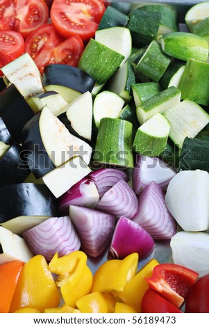 fresh veggies ready to roast
