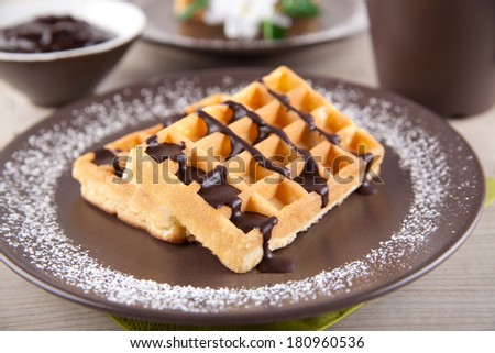 Fresh wafers with chocolate sauce and a cup of coffee - stock photo