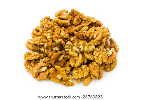 Fresh walnut nuts isolated on the white