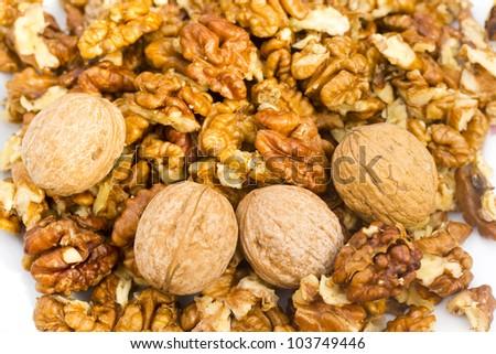 fresh walnuts - stock photo