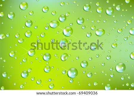 fresh water drops - stock photo